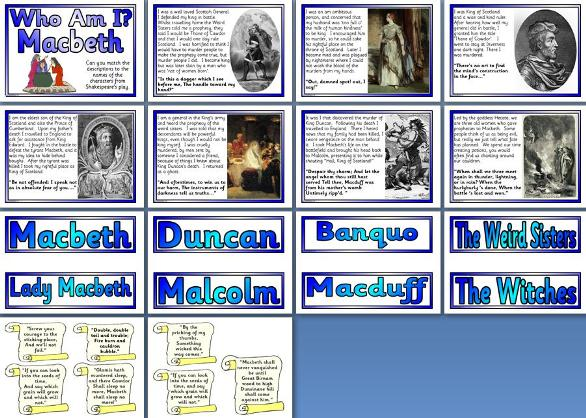 Free printable Shakespeare's Macbeth characters matching.  Free teaching resource.