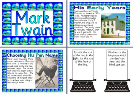 Free Printable Mark Twain Biography Information Posters