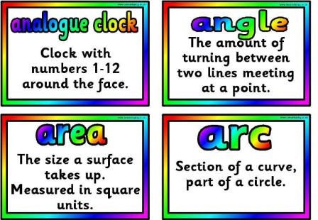 FREE Printable Maths Terms, Vocabulary Cards for classroom display