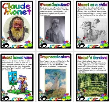 Free Printable Claude Monet Biography Information Posters for Kids