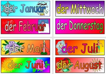 German Vocabulary Teaching Resource Months and Days of the Week