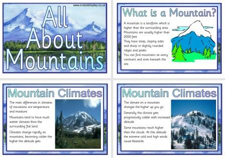 Free Printable Mountains Geography Information Posters