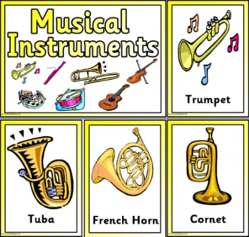 Free Printable simple Musical Instruments Cards