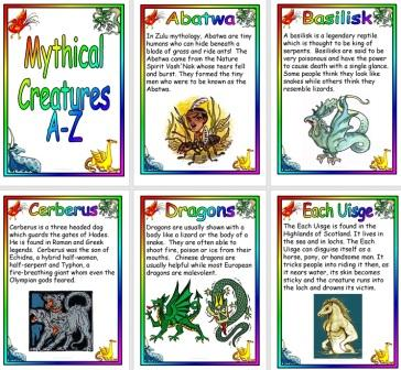 Free Printable A-Z of Mythical Creatures Posters