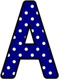 Free printable navy blue with a white polka dot background classroom display lettering sets for bulletin board display.