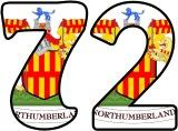 Free printable Shield of Northumberland, including the flag, background, instant display lettering sets.