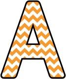 Free printable instant display digital lettering sets with an orange chevron, zigzag background.