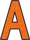 Free printable orange glitter background instant display lettering sets for classroom display.