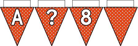 Free printable Orange Polka Dot Bunting, A-Z, ?!&, numbers 0-9 and a blank flag all in one file.  Click image to download.