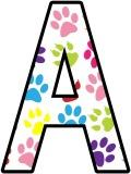 Free printable digital lettering sets with multi-coloured paw prints.  Great for classroom display.