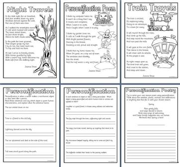 Free printable Personification Worksheets and Poems