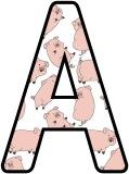 Free printable Pigs background instant display lettering sets for classroom display.