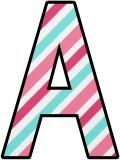 pink and green candystripe lettering