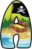 Pirate flag and treasure chest printable display letters