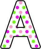 Pink and green polka dot lettering sets for classroom display