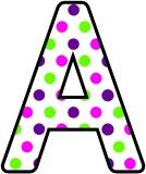 Free printable pink, green and purple polka dot lettering sets for classroom display.
