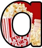 Free printable popcorn display lettering sets for classroom bulletin board display.