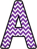 Free printable purple chevron background instant display digital lettering sets for classroom display.