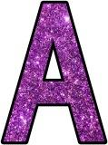 Free printable purple glitter alphabet instant display lettering sets for classroom bulletin board display
