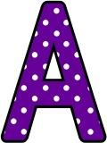 Free printable instant display letter sets with white polka dots on a purple background.