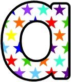 Rainbow stars pattern free instant display digital lettering sets for classroom display.