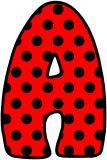 Red background with black polka dots background.  Perfect for a ladybird display.  Free printable instant display digital lettering sets.
