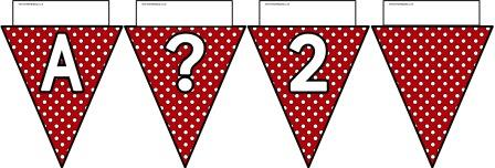 Free printable Red Polka Dot Bunting, A-Z, ?!&, numbers 0-9 and a blank flag all in one file.  Click image to download.