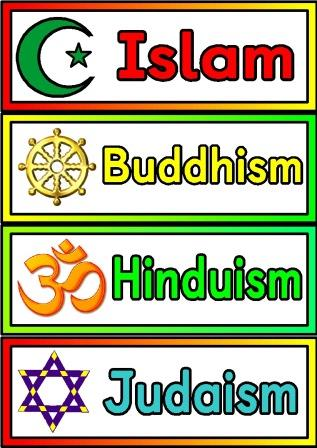 Free printable Religions Labels.  Simple posters showing the 7 main world religions and their symbols.  Includes Islam, Buddhism, Hinduism, Judaism, Sikhism, Taoism and Christianity.