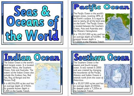 Free Printable Seas and Oceans of the World Information Fact Posters