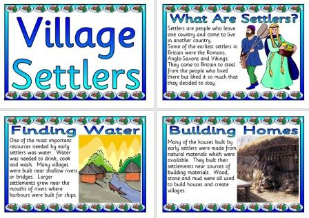 Village Settlers Posters for History or Geography Display