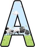 Free printable sheep lettering sets for classroom bulletin board display.