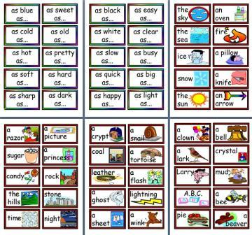 Free printable Simile Cards Teaching Resource