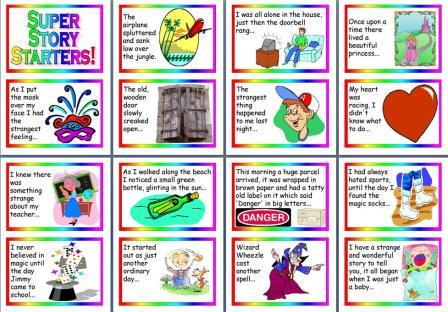 Free printable story starters cards to encourage childrens writing.