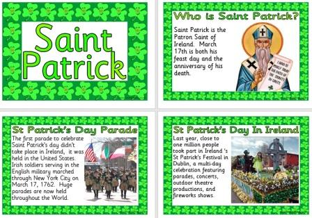 Free printable Saint Patrick information posters for children and schools