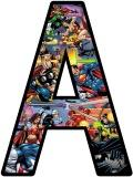 Superheroes background lettering for displays