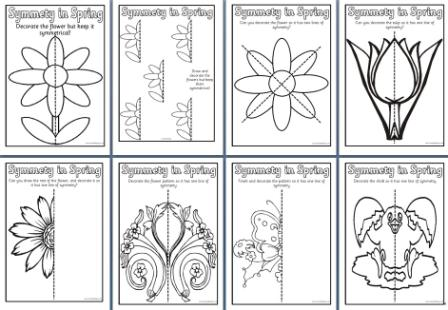 Free Printable Spring Symmetry Colouring Pages