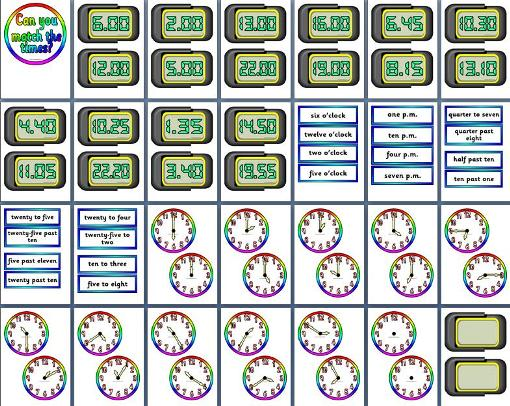 Free printable time matching numeracy maths resource for busy teachers.