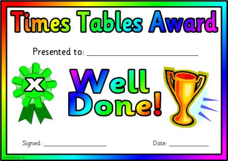 Free Printable Times Tables Award Certificates for tables from 2 to 12 plus a general certificate.