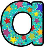 Turquoise background with multicoloured stars background letters for classroom display.