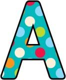 Free printable Instant Display Digital Lettering sets with a turquoise background with polka dots.
