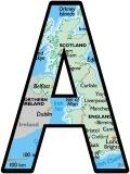 Free printable map of the UK background instant display lettering sets for classroom bulletin board displays.