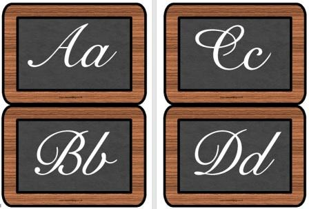 Free Printable Victorian Alphabet on Slates Lettering Posters