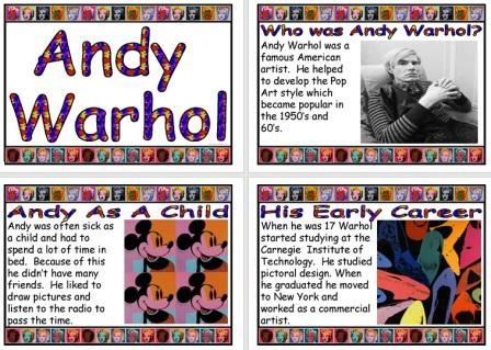 Free Printable Andy Warhol Biography Information Posters