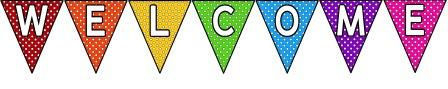 'Welcome to Our Class' rainbow polka dot bunting for classroom display.