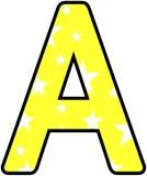 Printable yellow background with white stars classroom display lettering sets.