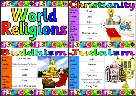 Free Printable Simple Religions of the World Fact Cards