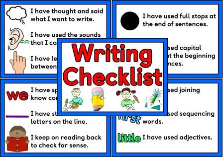 Free printable writing checklist set of digital posters for classroom display.