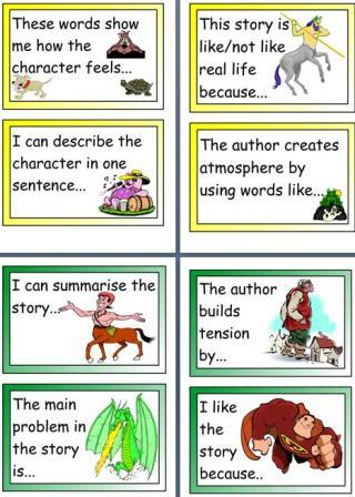 Free printable English teaching resource, cards, story hooks for Y3/4