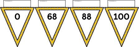 Free printable yellow polka dot bunting number line to 100